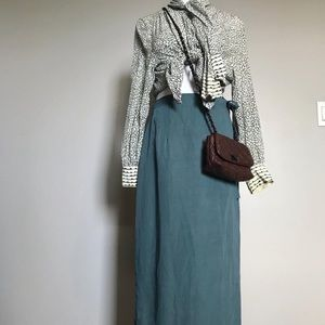 Dresses & Skirts - Vintage linen ankle length blue maxi wrap skirt